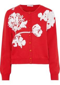 Oscar De La Renta Woman Sequin-embellished Wool Cardigan Tomato Red