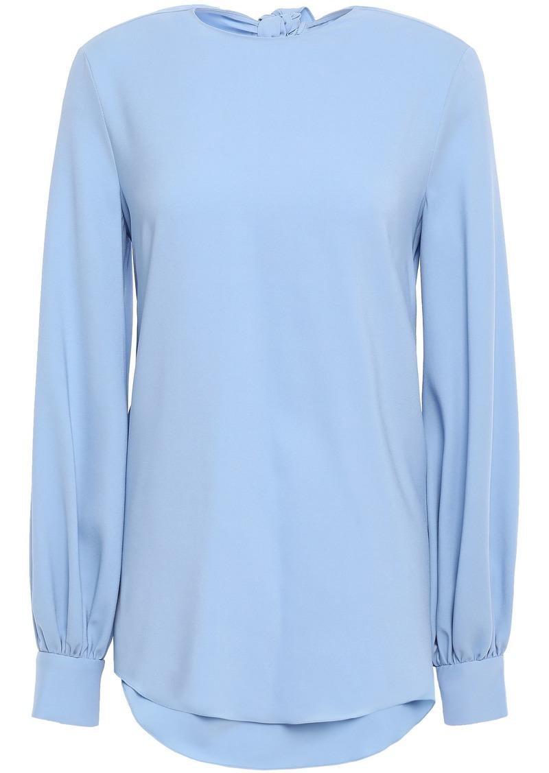 Oscar De La Renta Woman Open-back Stretch-silk Blouse Light Blue