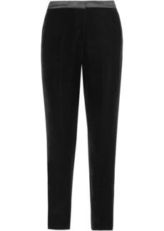 Oscar De La Renta Woman Silk Satin-trimmed Velvet Tapered Pants Black