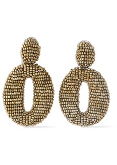 Oscar De La Renta Woman Gold-tone Beaded Clip Earrings Gold