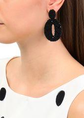 Oscar De La Renta Woman Silver-tone Beaded Hoop Clip Earrings Black
