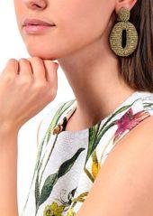 Oscar De La Renta Woman Gold-tone Beaded Clip Earrings Gold