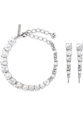 Oscar De La Renta Woman Silver-tone Crystal And Faux Pearl Earrings And Necklace Set Silver
