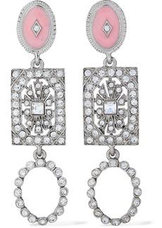 Oscar De La Renta Woman Silver-tone Crystal And Resin Clip Earrings Silver