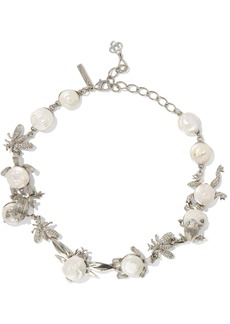 Oscar De La Renta Woman Silver-tone Crystal And Resin Necklace White