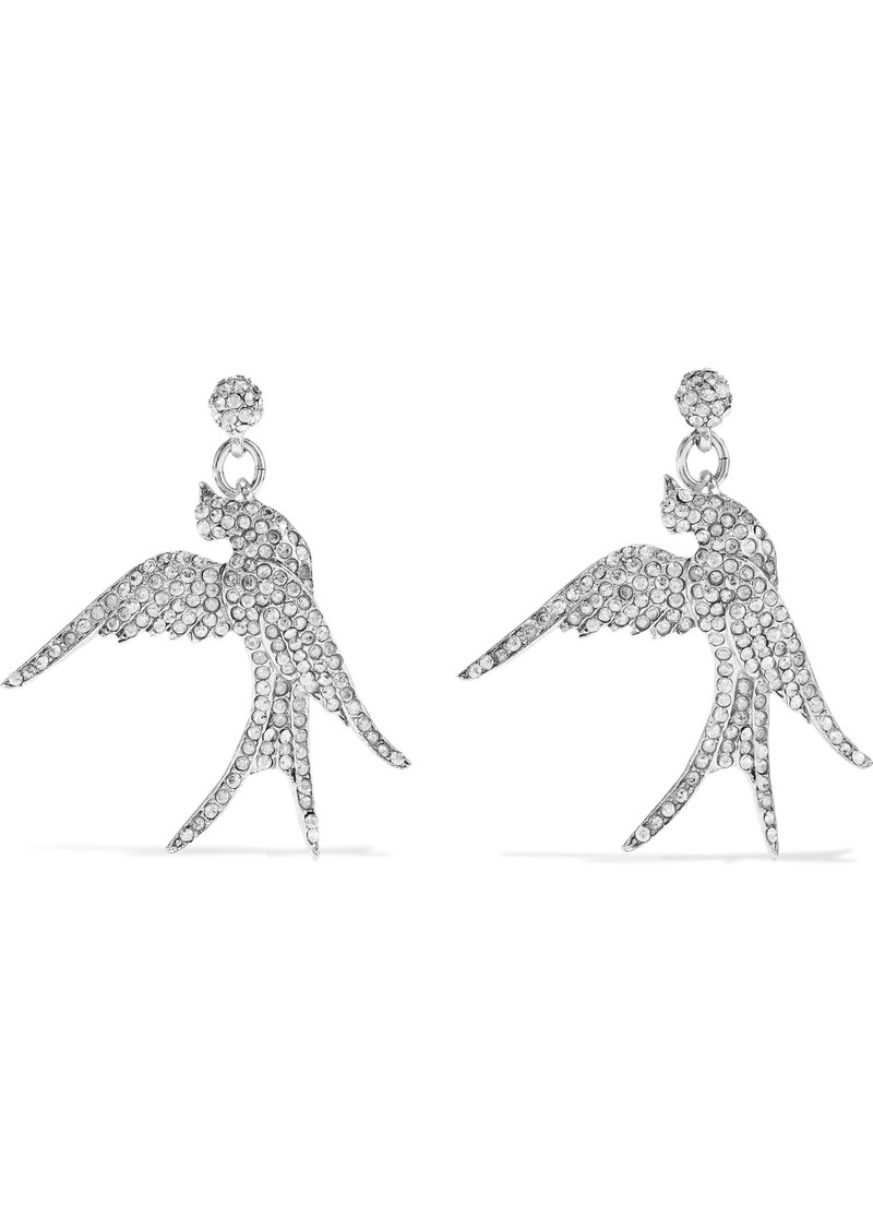 Oscar De La Renta Woman Silver-tone Crystal Earrings Silver