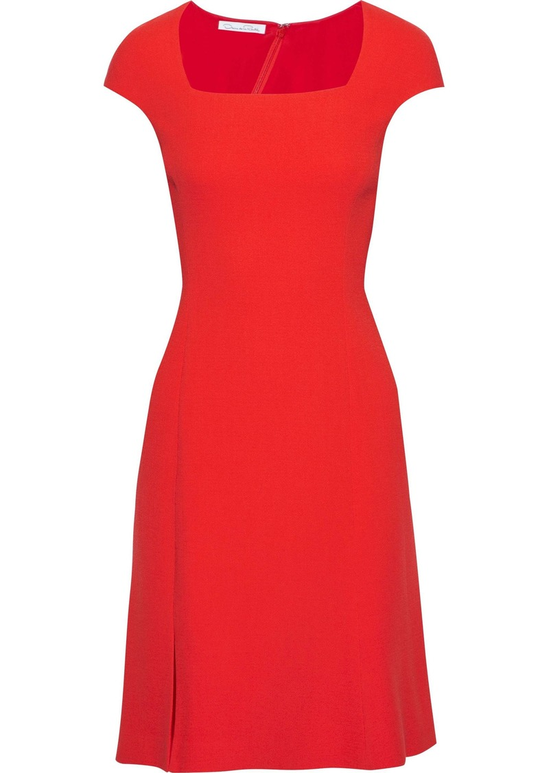 Oscar De La Renta Woman Split-front Wool-crepe Dress Red