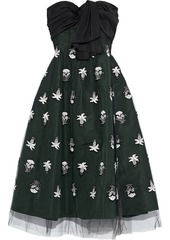 Oscar De La Renta Woman Strapless Bow-embellished Silk-twill And Embroidered Tulle Gown Green