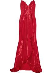 Oscar De La Renta Woman Strapless Draped Lamé Gown Red