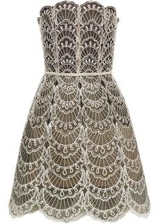 Oscar De La Renta Woman Strapless Embellished Tulle Mini Dress Black