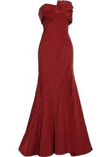 Oscar De La Renta Woman Strapless Gathered Cotton-blend Moire Gown Claret