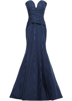 Oscar De La Renta Woman Strapless Gathered Cotton-blend Moire Gown Navy