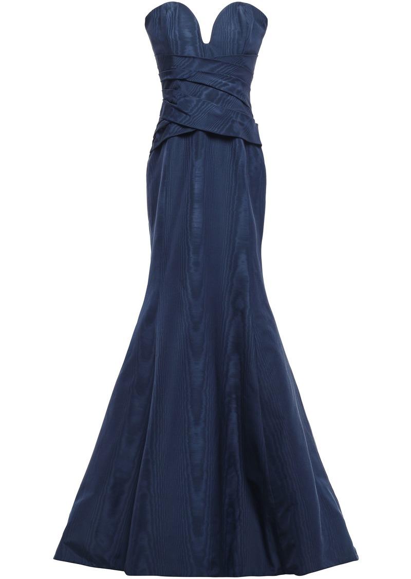 Oscar De La Renta Woman Strapless Gathered Cotton-blend Moire Gown Navy