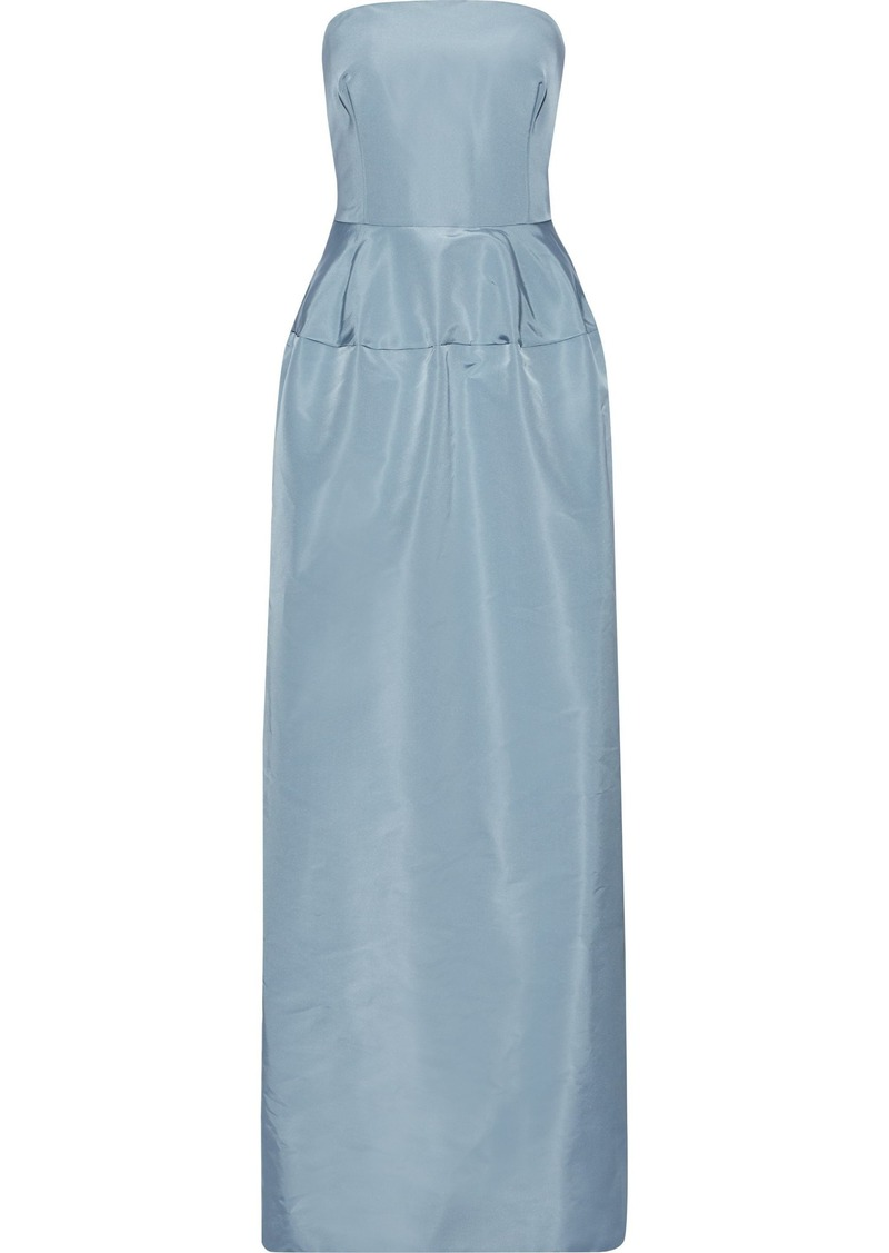 Oscar De La Renta Woman Strapless Silk-faille Gown Light Blue