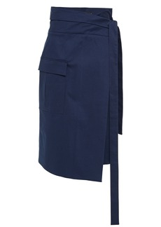 Oscar De La Renta Woman Stretch-cotton Gabardine Midi Wrap Skirt Navy