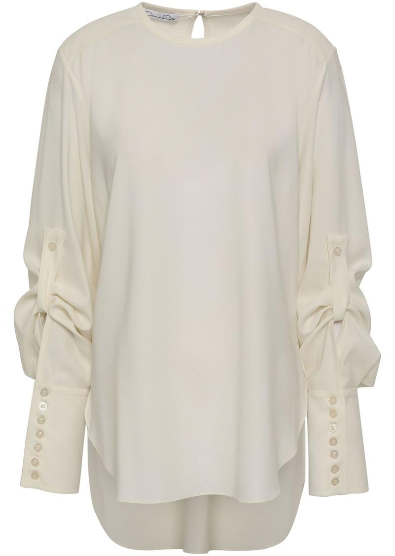 Oscar De La Renta Woman Stretch-silk Top White
