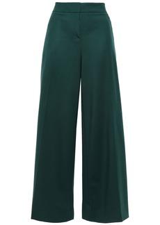 Oscar De La Renta Woman Stretch Wool-twill Wide-leg Pants Dark Green