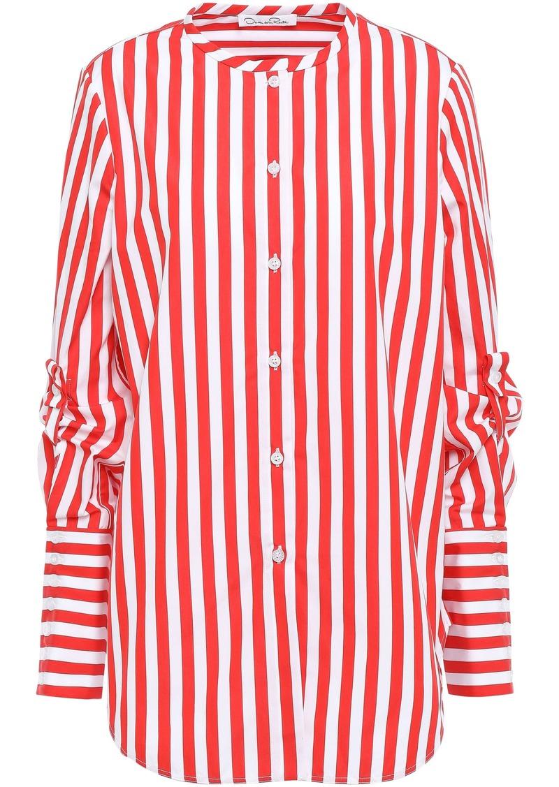 Oscar De La Renta Woman Striped Cotton-poplin Shirt Red