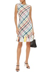 Oscar De La Renta Woman Tassel-trimmed Checked Cotton-blend Tweed Dress White