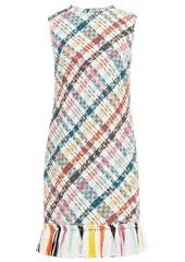 Oscar De La Renta Woman Tassel-trimmed Checked Cotton-blend Tweed Dress White