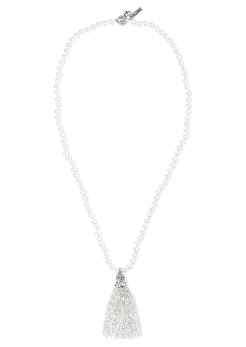 Oscar De La Renta Woman Tasseled Silver-tone Faux Pearl And Crystal Necklace Silver