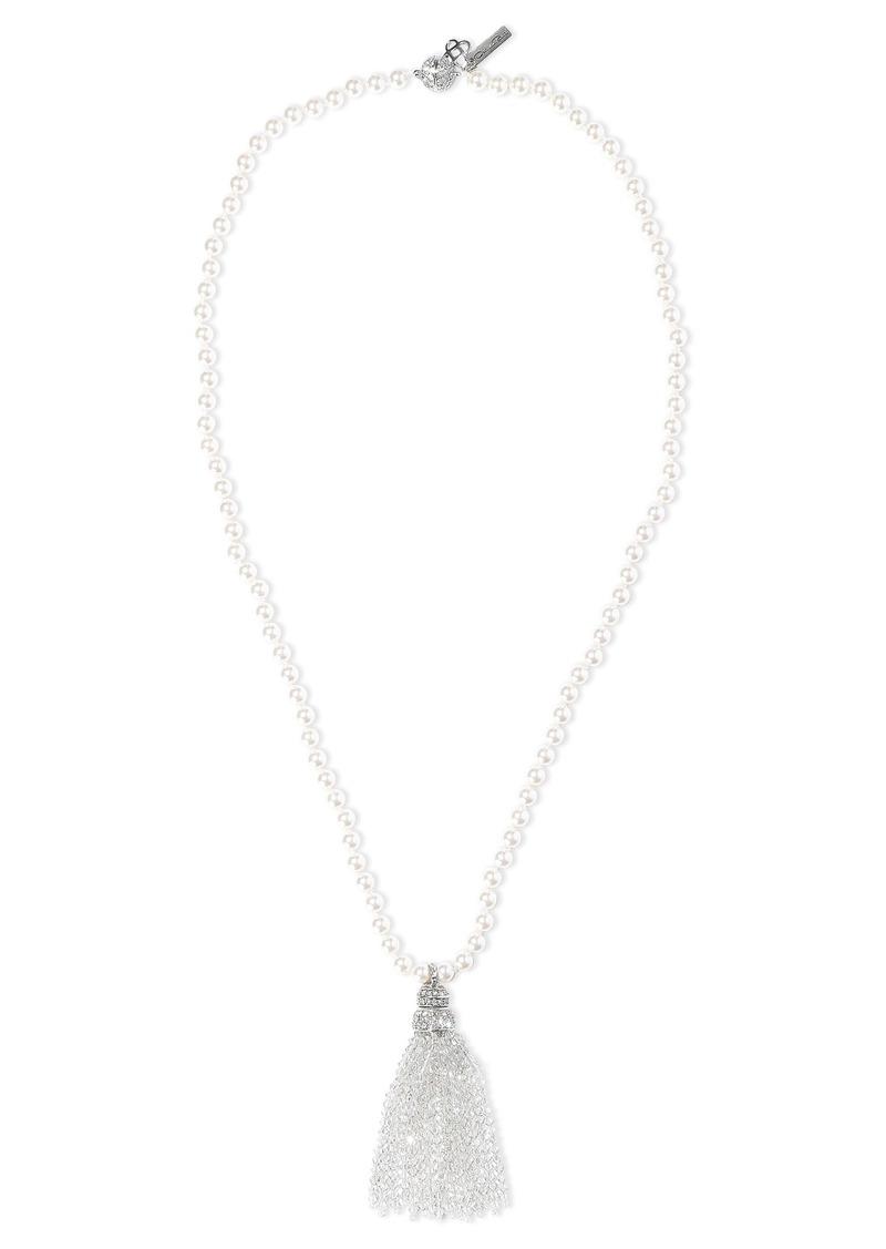 Oscar De La Renta Woman Tasseled Silver-tone Faux Pearl And Crystal Necklace Silver