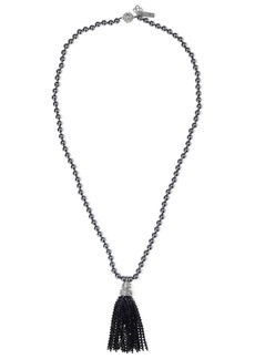 Oscar De La Renta Woman Tasseled Silver-tone Faux Pearl And Crystal Necklace Black