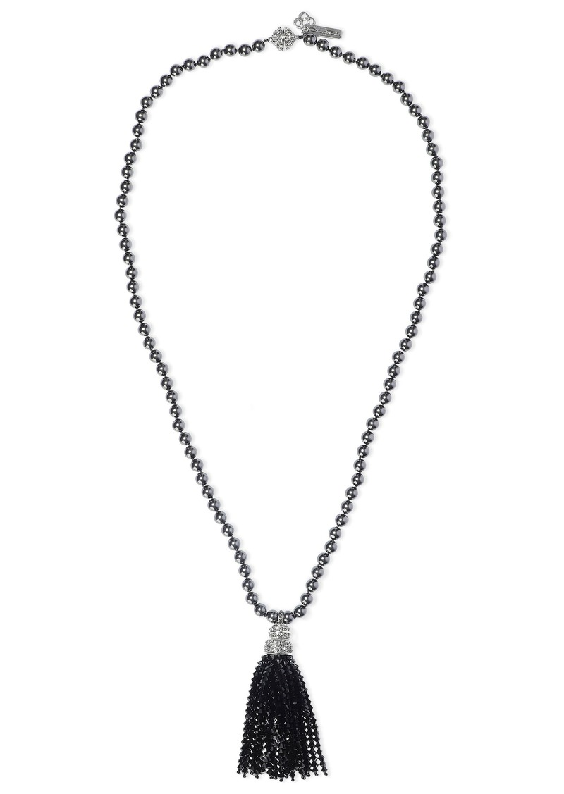 Oscar De La Renta Woman Tasseled Silver-tone Faux Pearl And Crystal Necklace Black