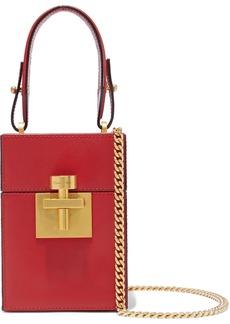 Oscar De La Renta Woman Textured-leather Shoulder Bag Red