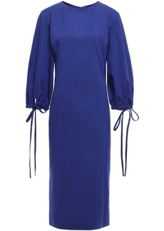 Oscar De La Renta Woman Tie-detailed Stretch-cotton Poplin Dress Royal Blue