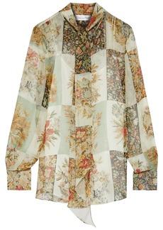 Oscar De La Renta Woman Tie-neck Floral-print Silk-chiffon Blouse Sage Green
