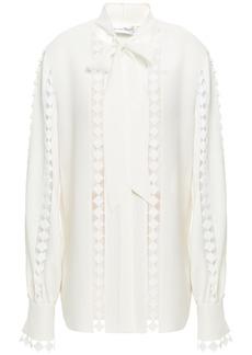 Oscar De La Renta Woman Pussy-bow Guipure Lace-trimmed Silk-blend Crepe Blouse Ecru