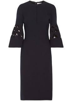 Oscar De La Renta Woman Tulle-paneled Cutout Wool-blend Dress Navy