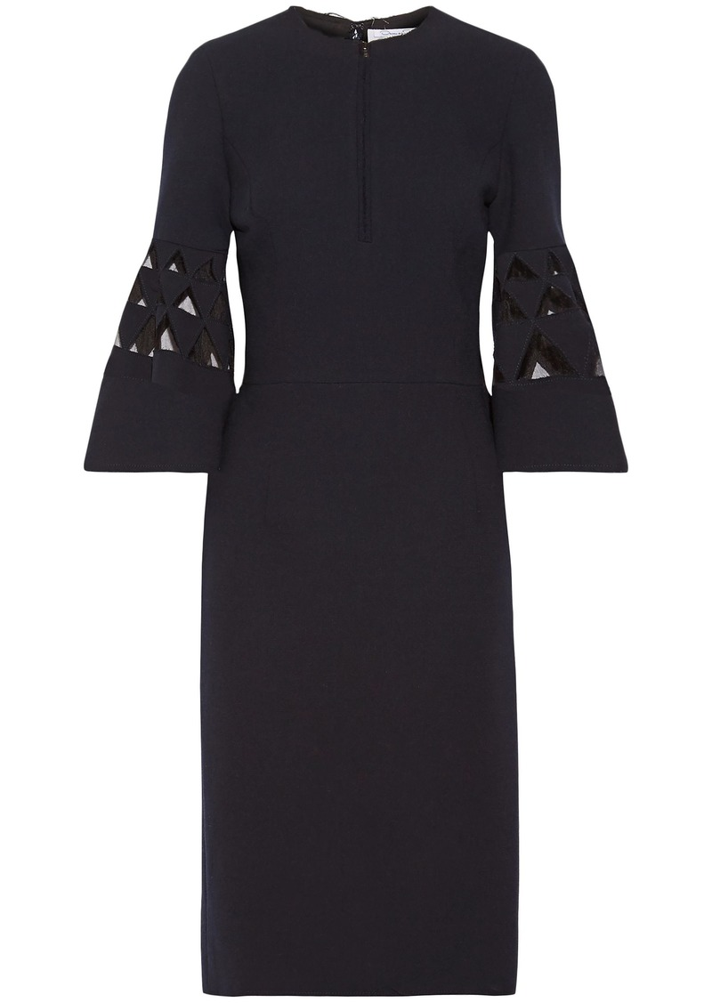 Oscar De La Renta Woman Tulle-paneled Cutout Wool-blend Dress Navy