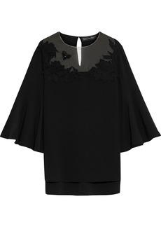 Oscar De La Renta Woman Tulle-paneled Embellished Silk-blend Crepe De Chine Top Black