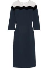 Oscar De La Renta Woman Tulle-paneled Wool-blend Crepe Midi Dress Navy