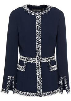 Oscar De La Renta Woman Frayed Tweed And Wool-blend Crepe Jacket Midnight Blue