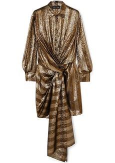 Oscar De La Renta Woman Twist-front Striped Silk-blend Lamé Mini Dress Bronze