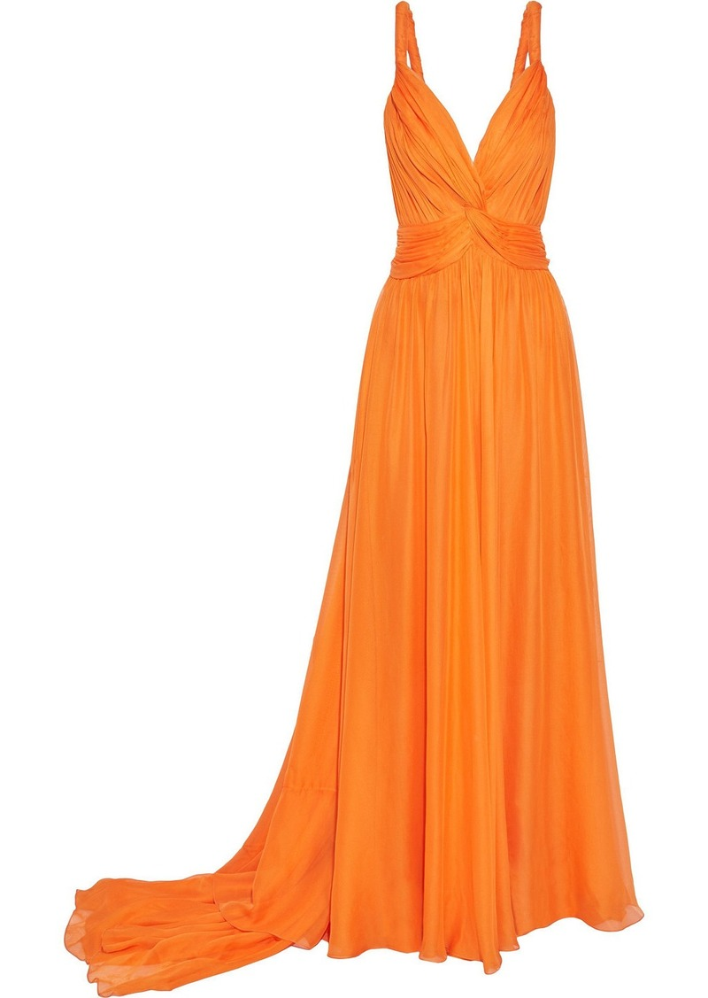 Oscar De La Renta Woman Twisted Gathered Silk Gown Orange