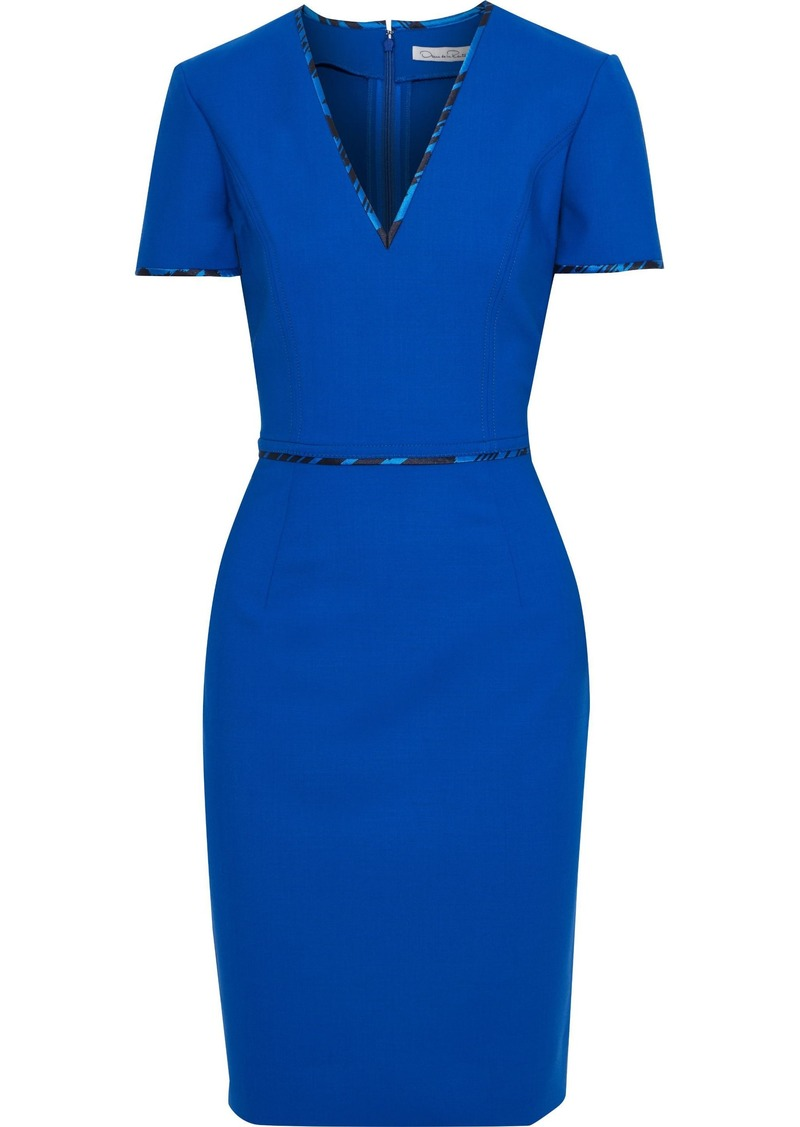 Oscar De La Renta Woman Wool-blend Cady Dress Bright Blue