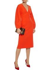 Oscar De La Renta Woman Wool-blend Cady Dress Bright Orange