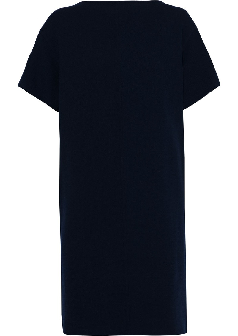 Oscar De La Renta Woman Wool-blend Crepe Mini Dress Navy