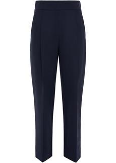Oscar De La Renta Woman Wool-blend Crepe Straight-leg Pants Navy