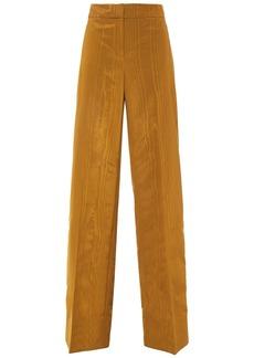 Oscar De La Renta Woman Wool-blend Moire Wide-leg Pants Brass