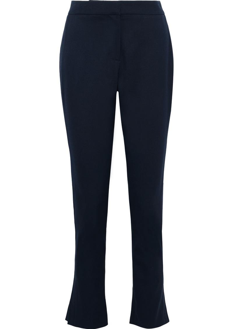 Oscar De La Renta Woman Wool-blend Slim-leg Pants Navy