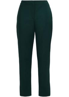Oscar De La Renta Woman Wool-blend Tapered Pants Dark Green