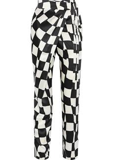 Oscar De La Renta Woman Wrap-effect Checked Silk-satin Tapered Pants Black