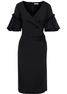 Oscar De La Renta Woman Wrap-effect Cotton-blend Poplin Dress Black