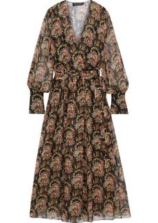 Oscar De La Renta Woman Wrap-effect Floral-print Silk-chiffon Maxi Dress Black