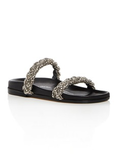 Oscar de la Renta Women's Charlee Crystal Embellished Satin Slide Sandals